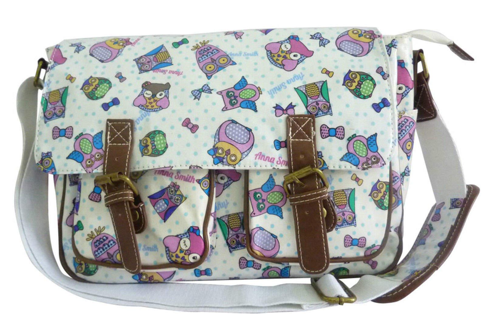 Another Owl Print Satchel Bag WHITE handbags - Girls School Oilcloth ... 633b0475440