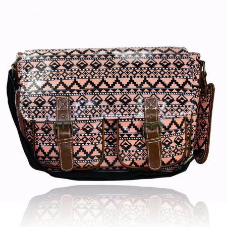 Ladies Anna Smith Aztec Tribal Oilcloth Messenger Bag Saddle Bag School Handbag