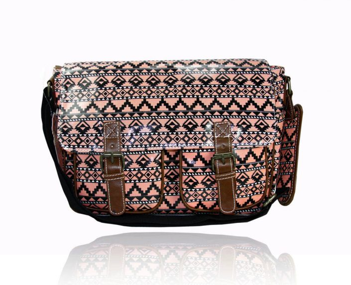 Ladies Anna Smith Aztec Tribal Oilcloth Messenger Bag Saddle Bag School Handbag