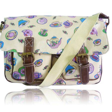 Ladies Anna Smith Teacup Tea Party Messenger Bag Saddle Bag School Bag Handbag yellow