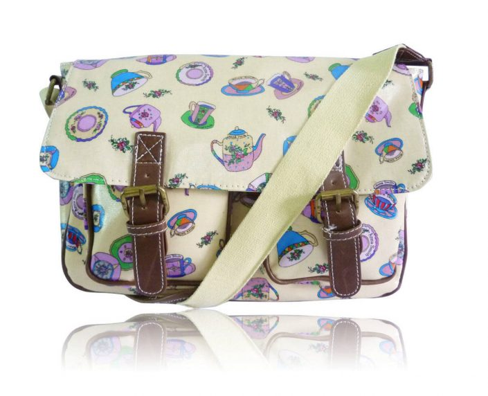 Ladies Anna Smith Teacup Tea Party Messenger Bag Saddle Bag School Bag Handbag yellow