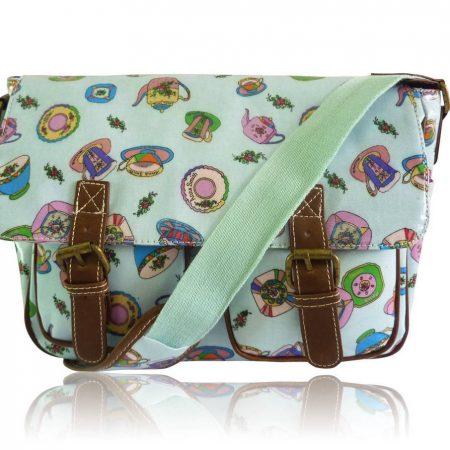 adies Anna Smith Teacup Tea Party Messenger Bag Saddle Bag School Bag Handbag