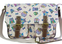 Owl Print Satchel Bag PINK handbags - Girls School Oilcloth Anna Smith Owl Messenger Satchel Shoulder Bag