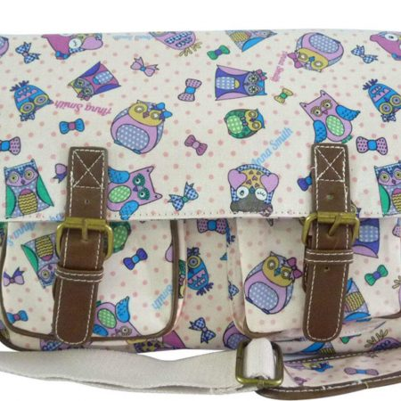 Owl Print Satchel Bag PINK handbags - Girls School Oilcloth Anna Smith Owl Messenger Satchel Shoulder Bag