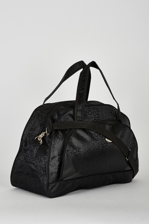 Black Logo Print Weekend Holdall Bag