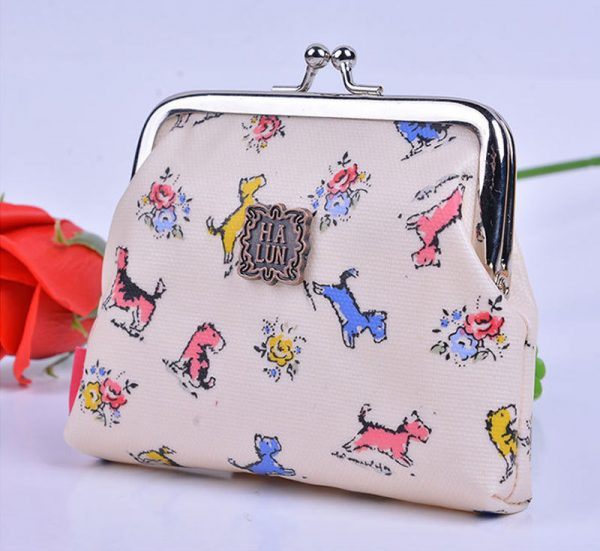 yellow puppy pretty-owl-butterfly-polka-dot-flower-small-coin-purse-girl-wallet-bag-pink-owl-dogs