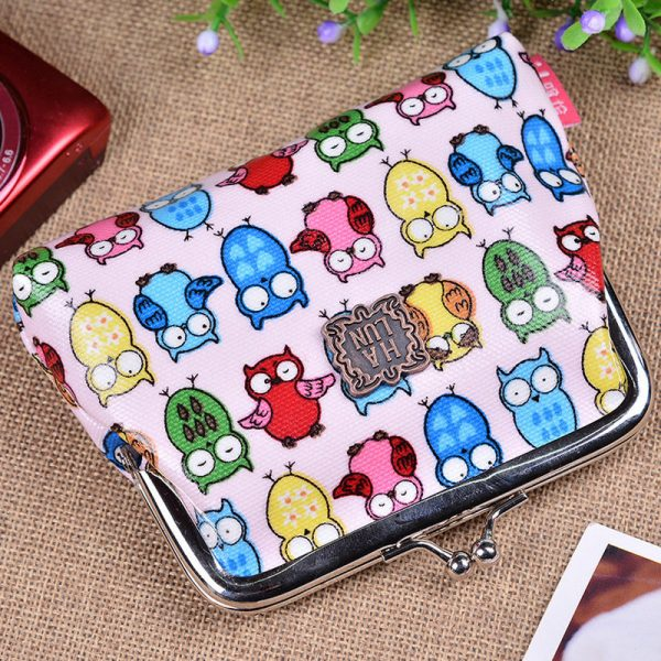 Pink Owl Pretty Owl Butterfly Polka Dot Flower Small Coin Purse Girl Wallet Bag Pink Owl