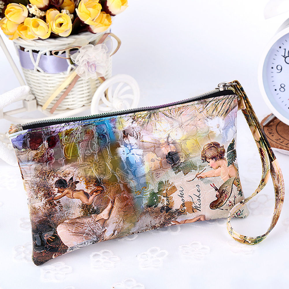 angel  women lady pu leather coin bag case card holder
