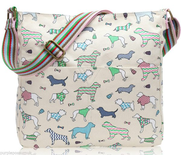 a-dog-print-canvas-crossbody-bag-cream-shoulder-bag-pink-green-dachshund-dogs-across-body-bag