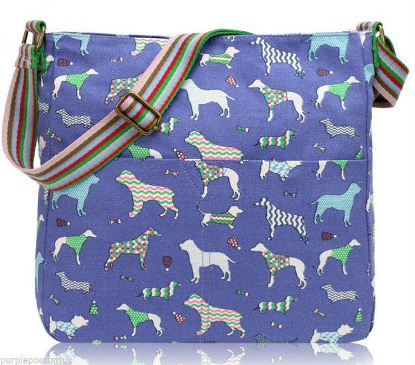 blue-dog-print-canvas-bag-crossbody-shoulder-bag-pink-green-dachshund-dogs-across-body-bag