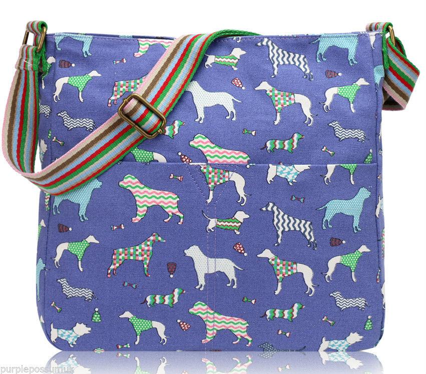 blue-dog-print-canvas-bag-crossbody-shoulder-bag-pink-green-dachshund-dogs-across-body-bag