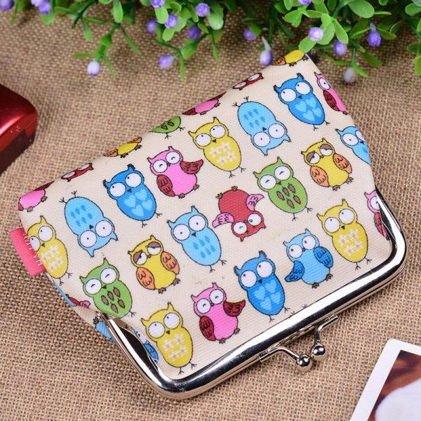 Pretty Owl Butterfly Polka Dot Flower Small Coin Purse Girl Wallet Bag