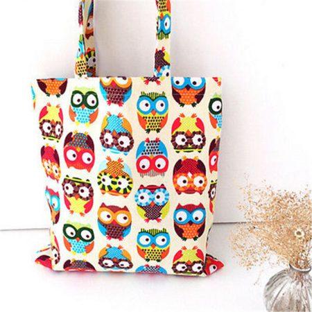 Owl Womens Canvas Capacity Handbag Shopping Shoulder Bag Shopper Tote