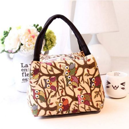 Portable Insulated Thermal Canvas Lunch Box Containers Outdoor Carry Tote Bag