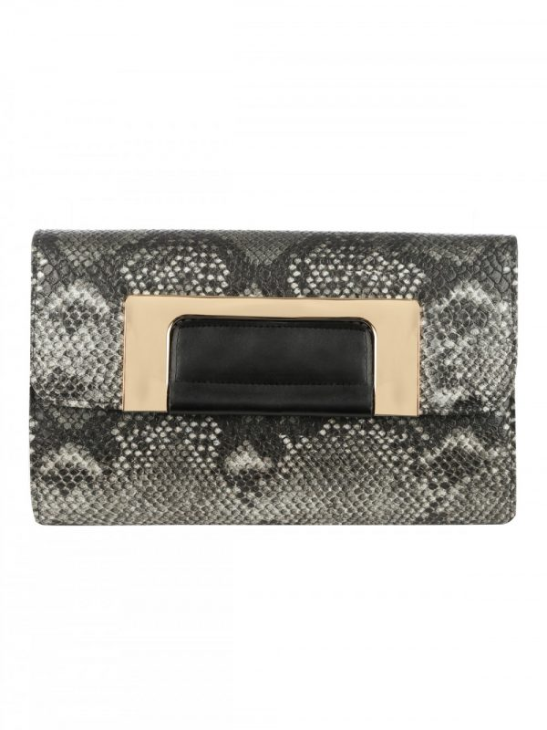 Snake Print Clutch Bag
