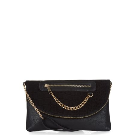 black-chain-zip-clutch