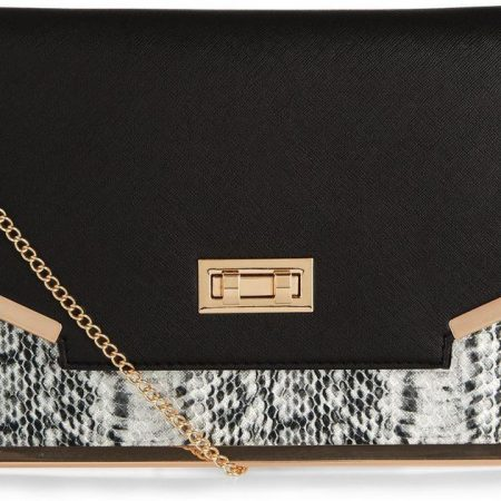 black-snakeskin-print-panel-clutch-bag