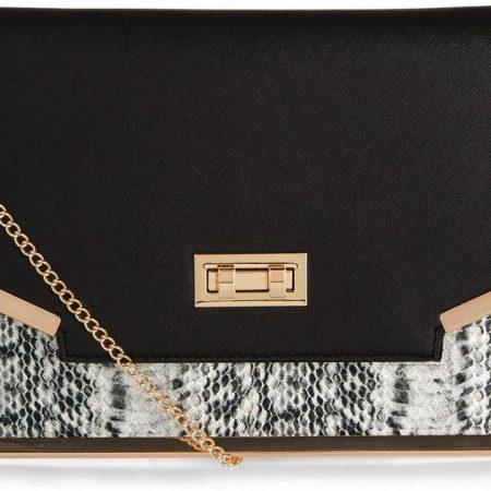 black-snakeskin-print-panel-clutch-bag