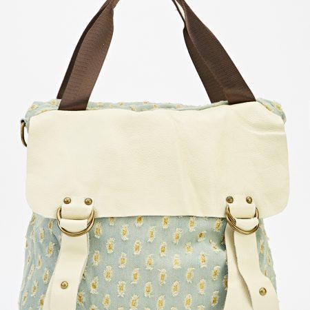 Contrast Denim Ripped Backpack BLUE/CREAM