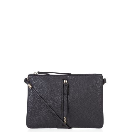 Black Zip Front Across Body Bag