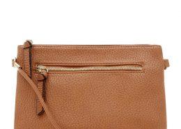 Tan-Brown-Zip-Bag-Purse-Clutch