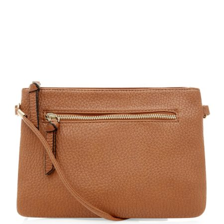 Tan-Brown-Zip-Bag-Purse-Clutch