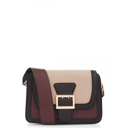 ON SALE Mink Colour Block Buckle Across Body Bag