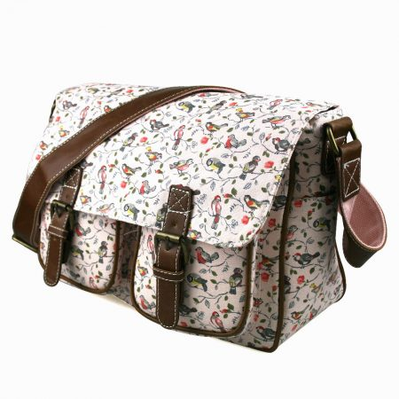 LIGHT-Pink-Miss-Lulu-Bird-CANVAS-A4-Books-Large-Cross-Body-Shoulder-Messenger-Satchel-School-Bag