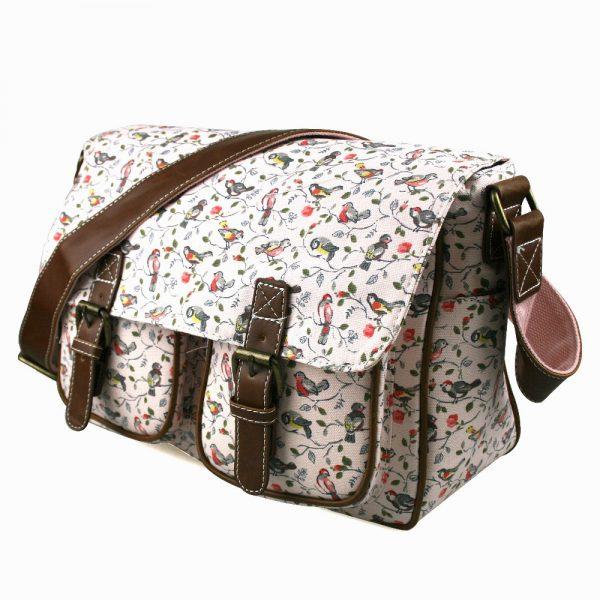 LIGHT-Pink-Miss-Lulu-Bird-CANVAS-A4-Books-Large-Cross-Body-Shoulder-Messenger-Satchel-School-Bag