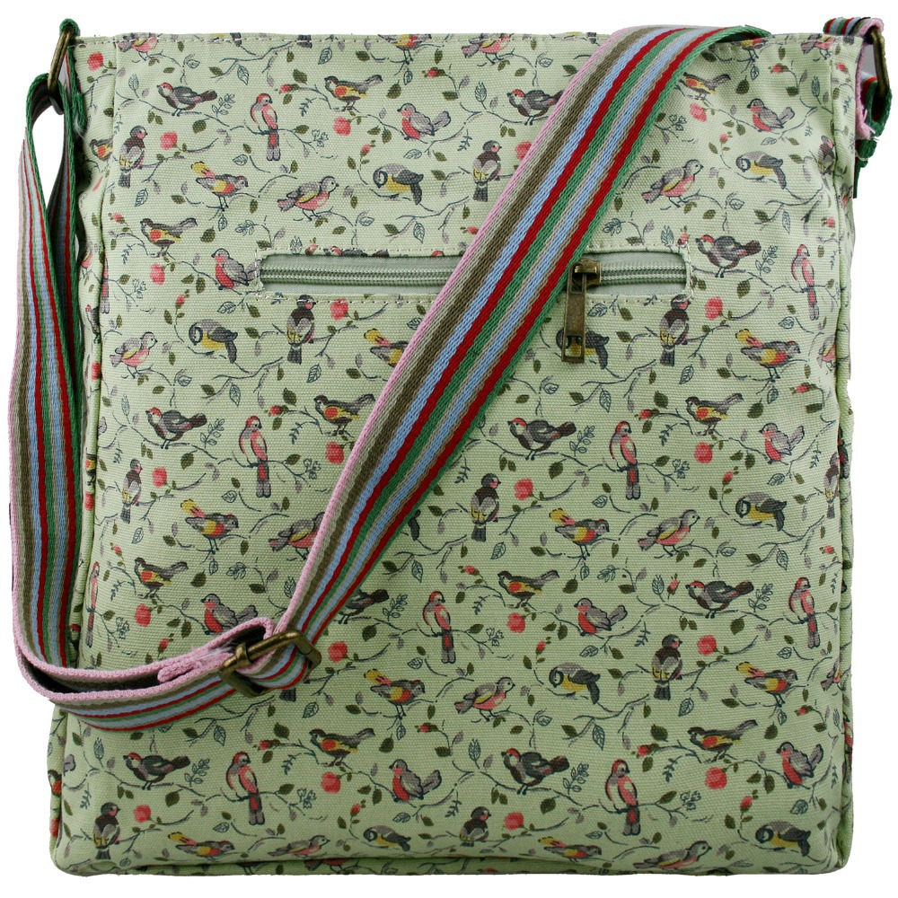 Green Canvas Satchel Messenger Shoulder Cross Body Bag Bird Print Ladies Handbags Uk