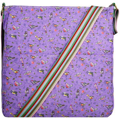 Miss-Lulu-Large-Women-Men-Boys-Girls-Bird-Canvas-School-College-Satchel-Cross-Body-Messenger-Bag-PURPLE