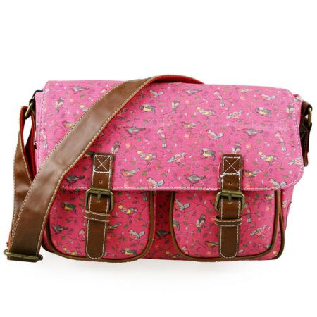 Pink-Miss-Lulu-Bird-CANVAS-A4-Books-Large-Cross-Body-Shoulder-Messenger-Satchel-School-Bag