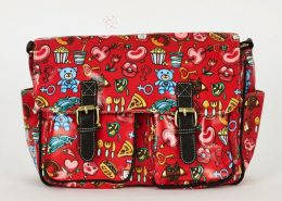 Red Printed Zip Fastening Satchel Bag