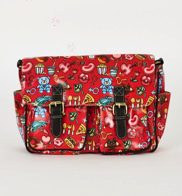 Red Printed Zip Fastening Satchel Bag