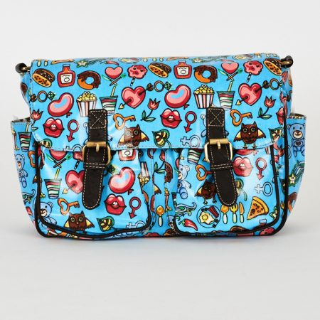 Blue Printed Zip Fastening Satchel Bag