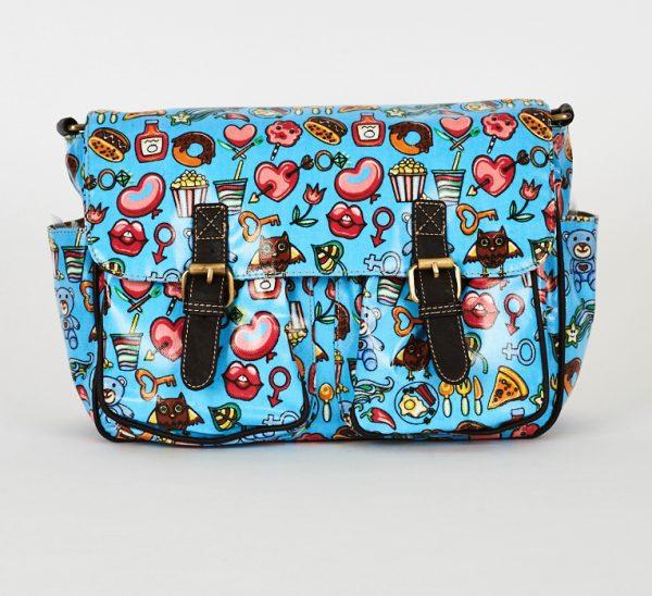 Blue Printed Zip Fastening Satchel Bag