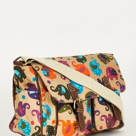 Elephants Pattern Zip Fastening Beige Satchel Bag