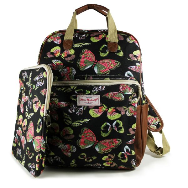 BLACK COLOUR NEW BUTTERFLY RUCKSACK WITH IPAD CASE