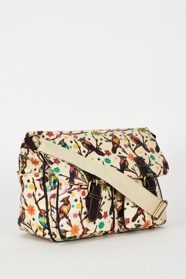 Birds Pattern Zip Fastening Cream Satchel Bag