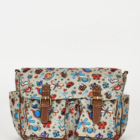 Bugs Pattern Zip Fastening Grey Satchel Bag