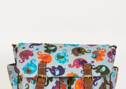 Elephants Pattern Zip Fastening Blue Satchel Bag