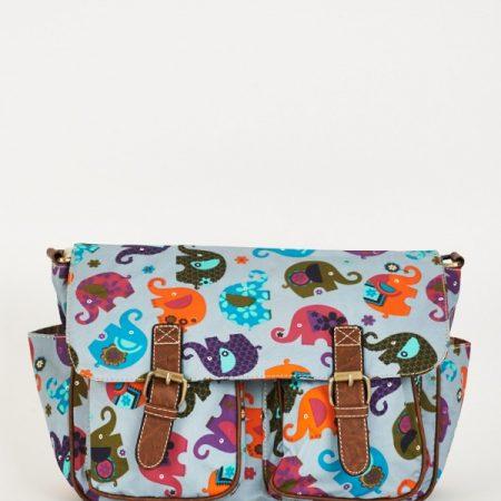 Elephants Pattern Zip Fastening Blue Satchel Bag