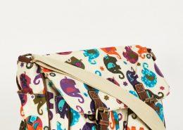 Elephants Pattern Zip Fastening Cream Satchel Bag
