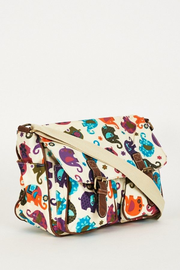 Elephants Pattern Zip Fastening Cream Satchel Bag