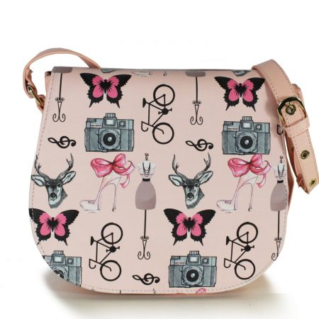 PINK FAUX LEATHER VINTAGE MISS MELODY CROSSBODY BAG
