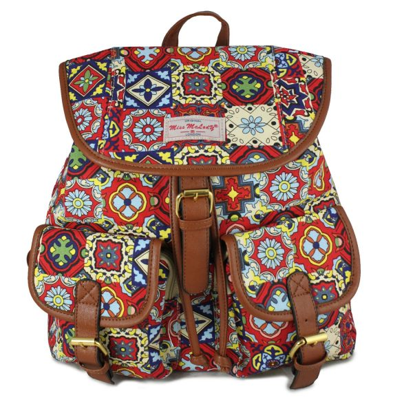 RED NEW AZTEC PRINT RUCKSACK