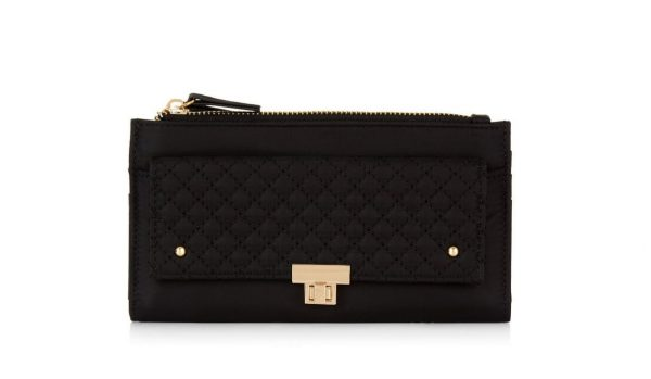 Black Quilted Panel Purse | New Look