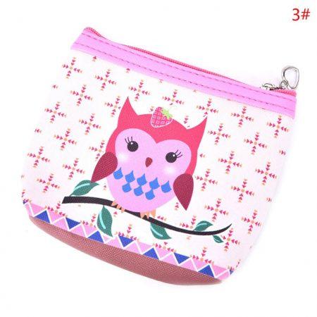 Womens Fashion Mini Owl Wallet Card Holder Case Coin Purse Clutch Handbag Bag One Owl pink