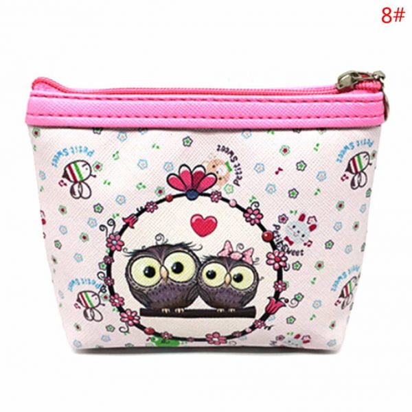 Womens Fashion Mini Owl Wallet Card Holder Case Coin Purse Clutch Handbag Bag two owls pink