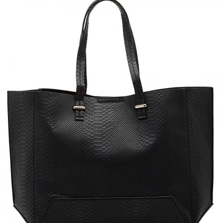 Angela Snake Tote Shopper Bag BLACK